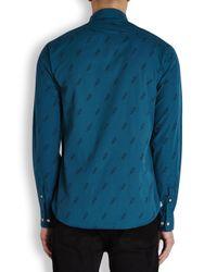 Paul Smith Blue Teal Lightning Print Cotton Shirt for men