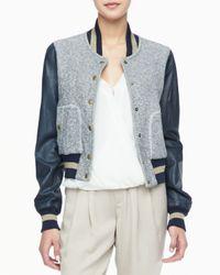 Rachel Zoe | Blue Ryder Leather-Sleeve Baseball Jacket | Lyst