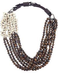 Brunello Cucinelli Gray River Stone And Bronzite Necklace - For Women