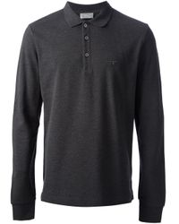 Dior Gray Long Sleeve Polo Shirt for men