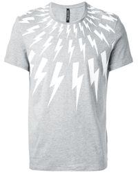 Neil Barrett | Gray Lightening Bolt T-Shirt for Men | Lyst