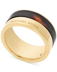 Michael Kors - White Gold-Tone Colorblocked Band Ring - Lyst