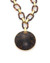 Michael Kors - Metallic Faux Tortoise Chain Necklace - Lyst