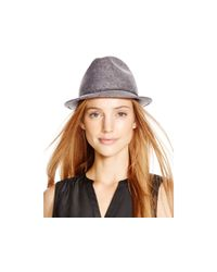 Aqua | Gray Studded Ribbon-trimmed Fedora | Lyst