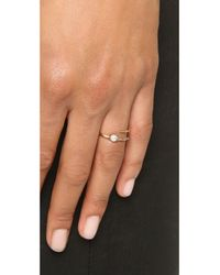 Campbell | Metallic Skinny Tornado Ring - Gold/pearl | Lyst