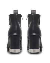Miss Kg Black Sahara Leather Block Heel Ankle Boot