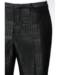 Emporio Armani - Black Runway Trousers In Jacquard Wool for Men - Lyst