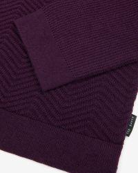 Ted Baker | Purple Textured Wool Jumper for Men | Lyst