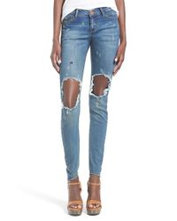 One Teaspoon - Blue Destroyed Skinny Jeans - Lyst