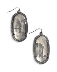 Kendra Scott | Metallic 'danielle' Drop Earrings - Gunmetal/ Mirror Rock Crystal | Lyst