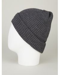 7b17d2b58bd Lyst - Moncler Ribbed Knit Beanie Hat in Gray for Men