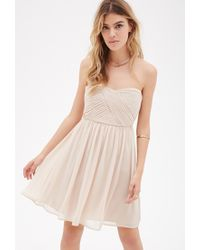 Forever 21 - Metallic Strapless Pleated Chiffon Dress - Lyst