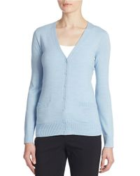 Lord & Taylor | Blue Plus Merino Wool Basic V-neck Cardigan | Lyst