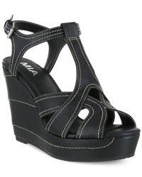 MIA Black Zeppelin Wedge Sandals