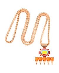 Mawi - Pink Rose Goldplated Crystal and Bead Pendant Necklace - Lyst