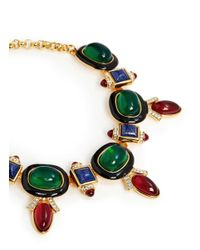 Kenneth Jay Lane Metallic Art Deco Crystal Stone Necklace