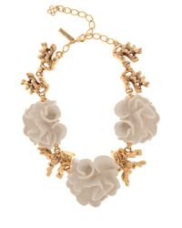 Oscar de la Renta | Metallic Gold Coral Flower Necklace | Lyst