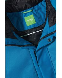 BOSS Green - Blue 'jailet' | Water Repllent, Concealed Hood Jacket for Men - Lyst