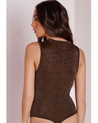 Missguided Glitter Extreme Drop Front Bodysuit Black