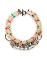 Venna | Multicolor Pavé Station Crystal Fringe Stud Necklace | Lyst