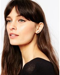 ASOS - Pack Of 3 Sterling Silver Black Enamel Moon And Star Earrings - Lyst