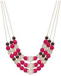INC International Concepts | Pink Gold-tone Fuchsia Three-row Frontal Necklace | Lyst