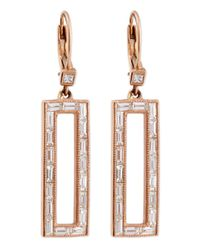 Sethi Couture - Metallic Diamond Rectangle Drop Earrings - Lyst