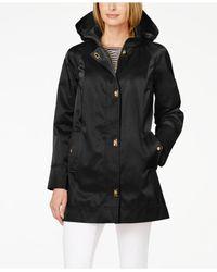 Jones New York | Black Petite Hooded Turnkey Raincoat | Lyst