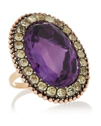 Olivia Collings | Purple 1840S 18-Karat Gold, Amethyst And Chrysoberyl Ring | Lyst