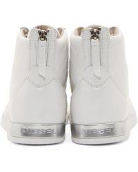 DIESEL - White Leather Diamond Sneakers for Men - Lyst