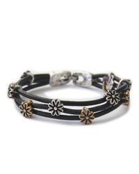 Lucky Brand | Black Silver And Goldtone Flower Bracelet | Lyst