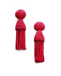 Oscar de la Renta | Pink Short Beaded Tassel Clip-on Earrings | Lyst