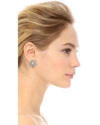 Oscar de la Renta Metallic Crystal Stars Earrings - Crystal/silver