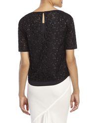 Les Copains - Black Embellished Mesh Lined Top - Lyst