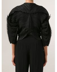 Pleats Please Issey Miyake Black Spiked Edge Crepe Cropped Cardigan
