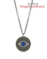 Theodora & Callum - Metallic Evil Eye Pave Necklace - Lyst
