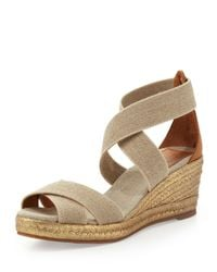 Tory Burch - Natural Adonis Midwedge Sandal Khaki - Lyst