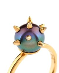 Nektar De Stagni | Metallic Peacock-Pearl And Gold-Plated Ring | Lyst