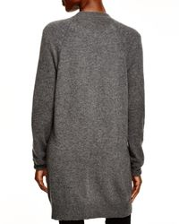 Aqua - Gray Cashmere Cashmere Moto Open Cardigan With Pockets - Lyst