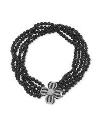 Carolee - Black Silvertone Crystal Flower And Jet Bead Torsade Necklace - Lyst