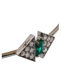 Nikos Koulis - Metallic Diamond, Emerald & White-Gold Bangle - Lyst