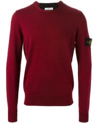 Stone Island Red Crew Neck Sweater for men