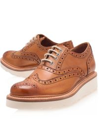 Foot The Coacher - Brown Tan Leather Emily Wedge Wingtip Brogues for Men - Lyst