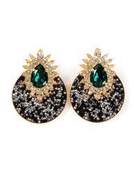 Shourouk - Black 'luna' Clip-on Earrings - Lyst