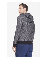 Express - Black Marled French Terry Zip Hoodie for Men - Lyst
