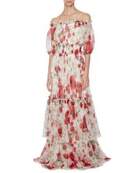 Dolce & Gabbana Multicolor Silk Off The Shoulder Floral Dress
