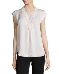 Rebecca Taylor - White Cap-sleeve Silk Georgette Lace-trim Top - Lyst