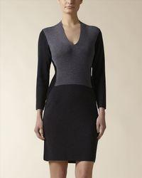 Jaeger - Black Wool Colour Block Dress - Lyst