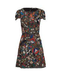 Alice + Olivia   Ellen Embellished Dress - Black Multi   Lyst