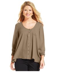 Style & Co. | Brown Button-front Peasant Blouse | Lyst